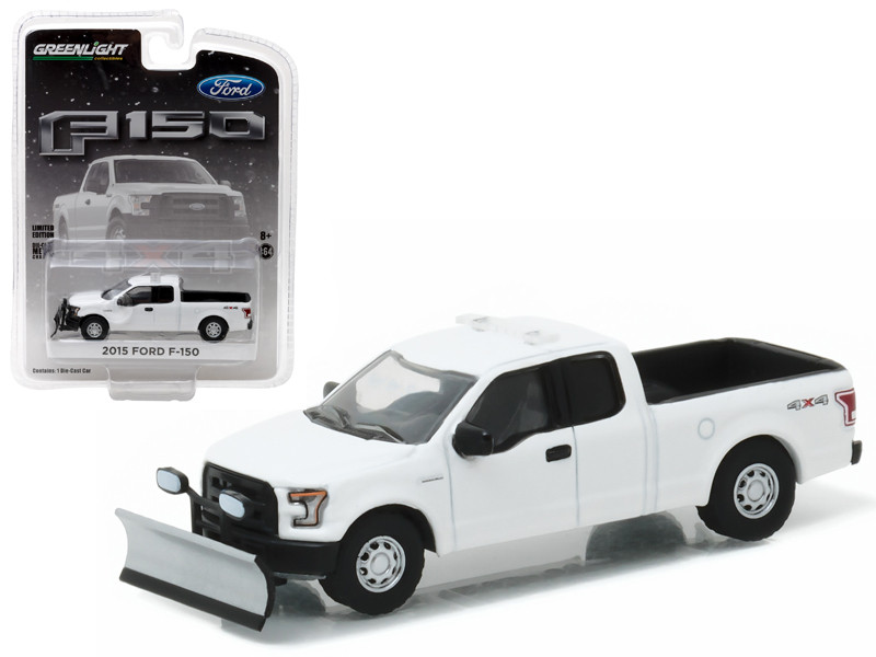 Ford F  White With Light Bar And Snow Plow Pickup Truck Hobby Exclusive