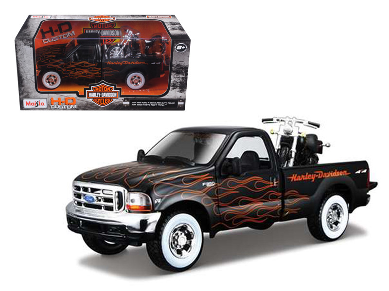 1999 Ford F-350 Super Duty Pickup 1/27 Black with Flames & 2002 FLSTB Night Train Harley Davidson 1/24 Maisto 32181