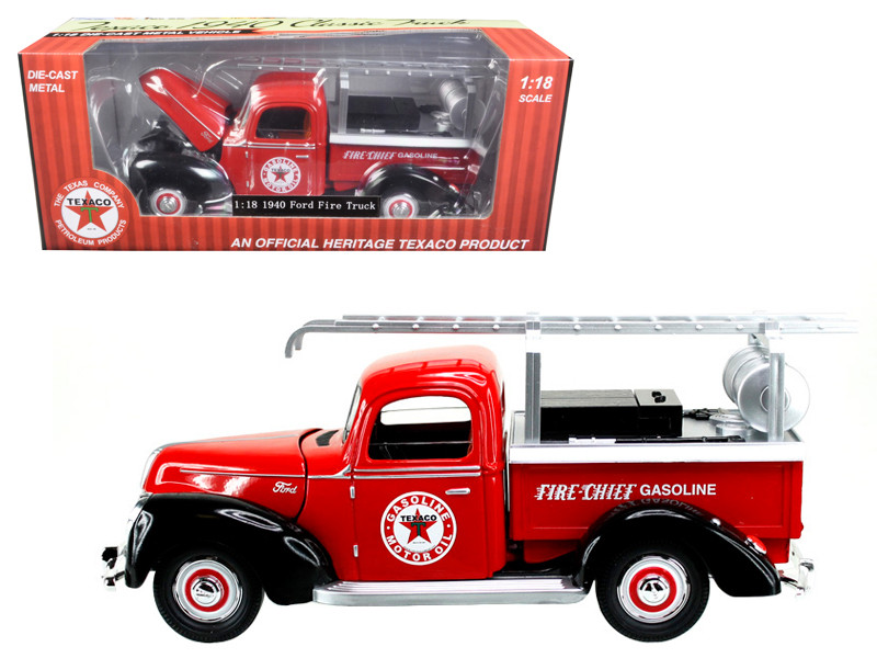 1940 Ford Fire Truck Texaco Red 1/18 Diecast Model Car Beyond Infinity 0608