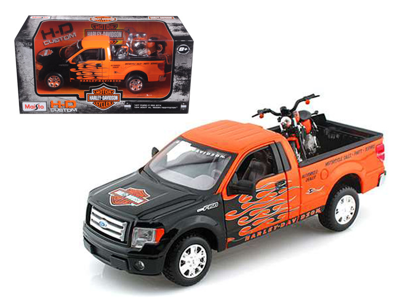 2010 Ford F-150 STX Pickup 1/27 Orange with Flames & 2007 XL1200N Nightster Harley Davidson 1/24 Maisto 32182