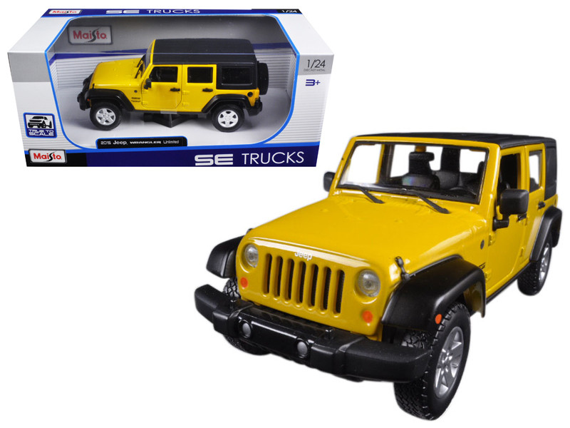 2015 Jeep Wrangler Unlimited Yellow 1/24 Diecast Model Car Maisto 31268