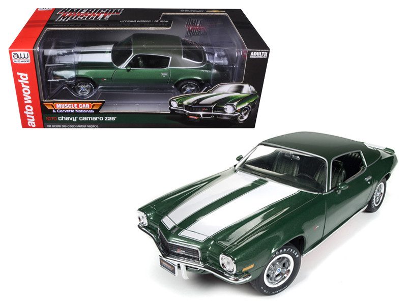 1970 Chevrolet Camaro Z28 Green MCACN 50th Anniversary Limited Edition to 1002pcs 1/18 Diecast Model Car Autoworld AMM1095