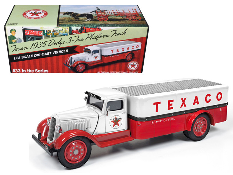 """1935 Dodge 3-Ton Platform Truck \Texaco\"""" (2016) Series #33 Red and White 1/38 Diecast Model Car by Autoworld"""""""""""""""