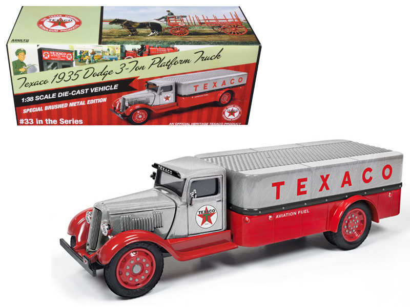 """1935 Dodge 3-Ton Platform Truck \Texaco\"""" (2016) Series #33 Special Edition Brushed Metal and Red 1/38 Diecast Model Car by Autoworld"""""""""""""""