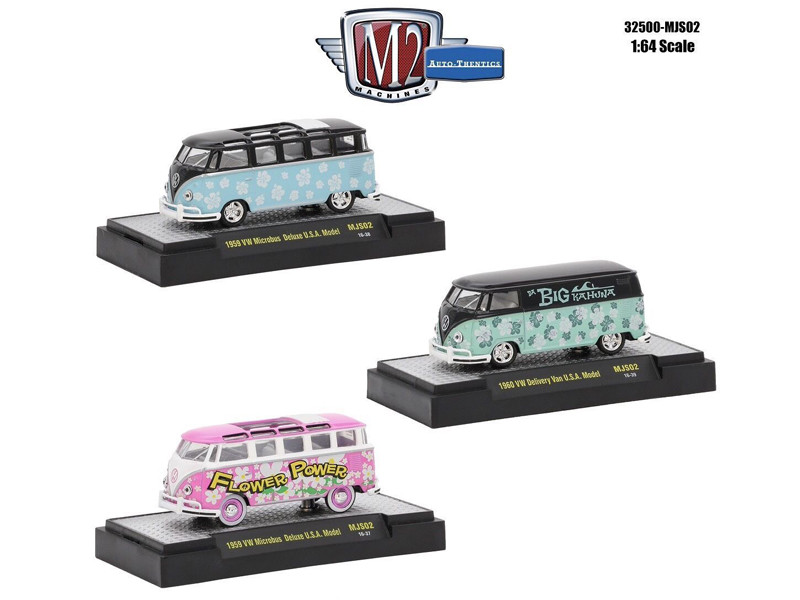 Auto Thentics 3 Cars Set Volkswagen USA Models WITH CASES 1/64 Diecast Model Cars M2 Machines 32500-MJS02