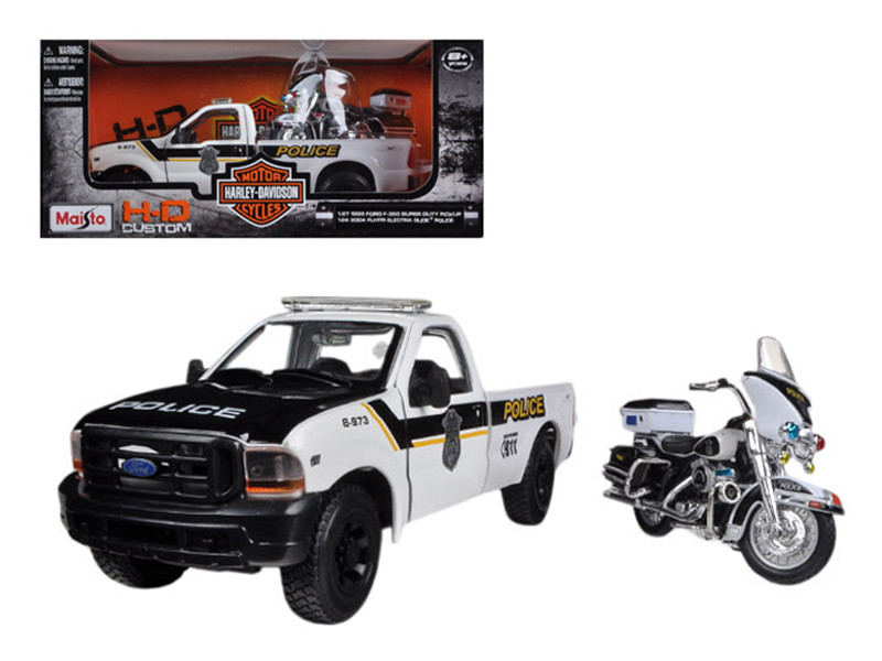 1999 Ford F-350 Super Duty Pickup Truck 1/27 and 1/24 2004 Harley Davidson FLHTPI Electra Glide Motorcycle Police Maisto 32186