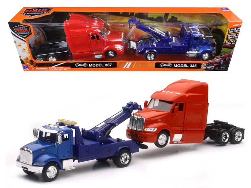 Peterbilt Model 335 Tow Truck Blue and Peterbilt Model 387 Cab Red 1/43 by New Ray