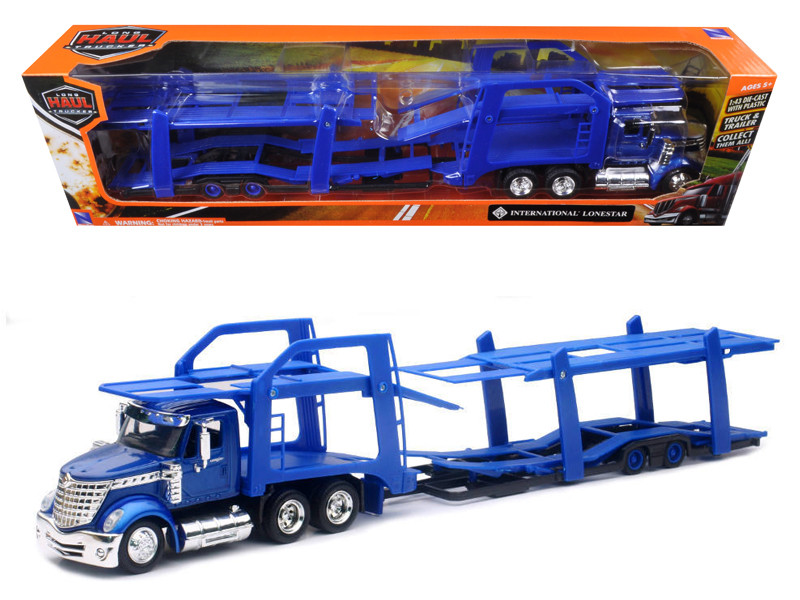 International Lonestar Blue with twin Auto Carrier 1/43 New Ray SS-16713