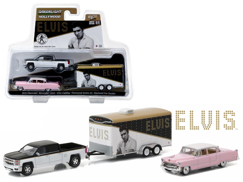 2015 Chevrolet Silverado 1500 and 1955 Cadillac Fleetwood Series 60 Pink Cadillac Elvis Presley 1935-77 in Enclosed Car Hauler 1/64 Diecast Model Cars Greenlight 31020 A