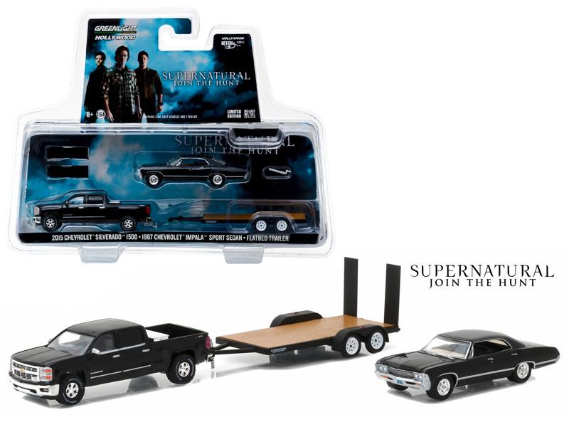 2015 Chevrolet Silverado 1500 and 1967 Chevrolet Impala Sport Sedan on Flatbed Trailer Supernatural TV Series 2005-Current 1/64 Diecast Model Cars Greenlight 31020 C