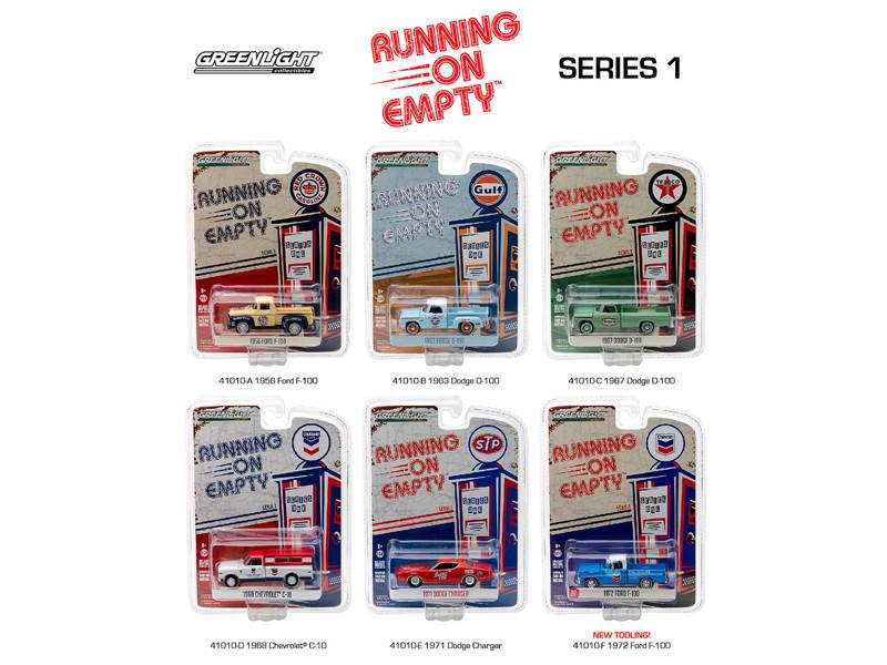 Running on Empty Series 1 6pc Diecast Car Set 1/64 Diecast Model Cars Greenlight 41010