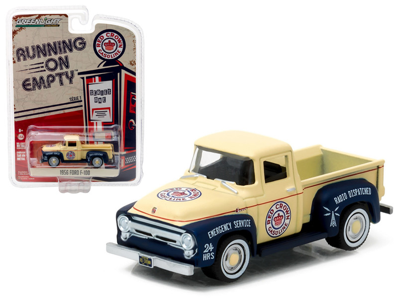 1956 Ford F-100 Red Crown Gasoline Pickup Truck 1/64 Diecast Model Car Greenlight 41010 A