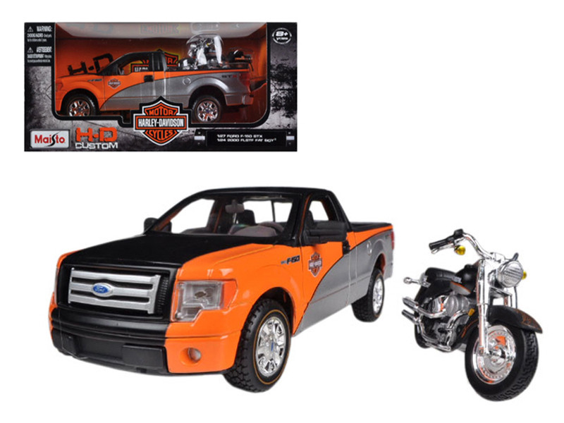 2010 Ford F-150 STX Orange/Black/Silver 1/27 & 1/24 Harley Davidson FLSTF Fat Boy Motorcycle Maisto 32187