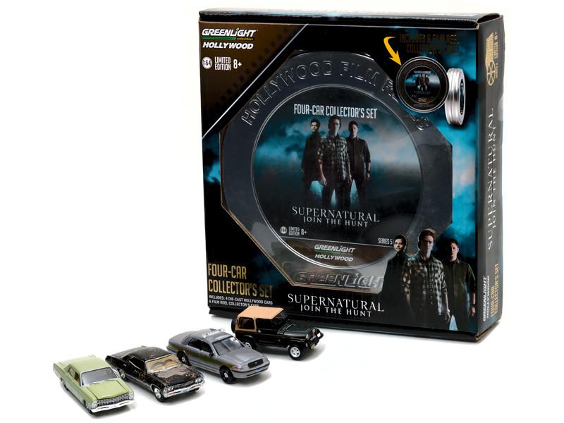 Hollywood Film Reels Series 5 4pc Set Supernatural 2005-Current TV Series Season 3-10 Edition 1/64 Diecast Model Cars Greenlight 59050 A