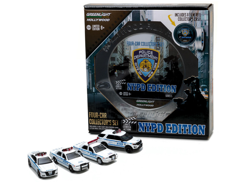 Hollywood Film Reels Series 5 4pc Set NYPD Behind the Scenes Movie 1/64 Diecast Model Cars Greenlight 59050 B
