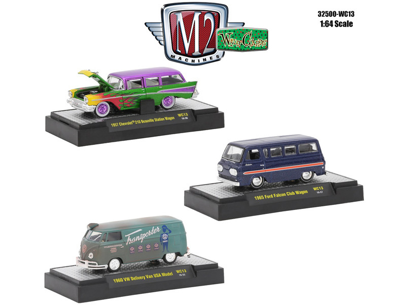 Wild Cards Set of 3 WITH CASES Release WC13 1/64 Diecast Model Cars M2 Machines 32500-WC13