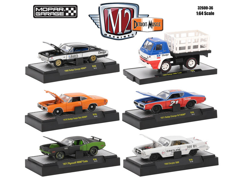 Detroit Muscle 6 Cars Set Release 36 Mopar Garage Collection IN DISPLAY CASES 1/64 Diecast Model Cars M2 Machines 32600-36