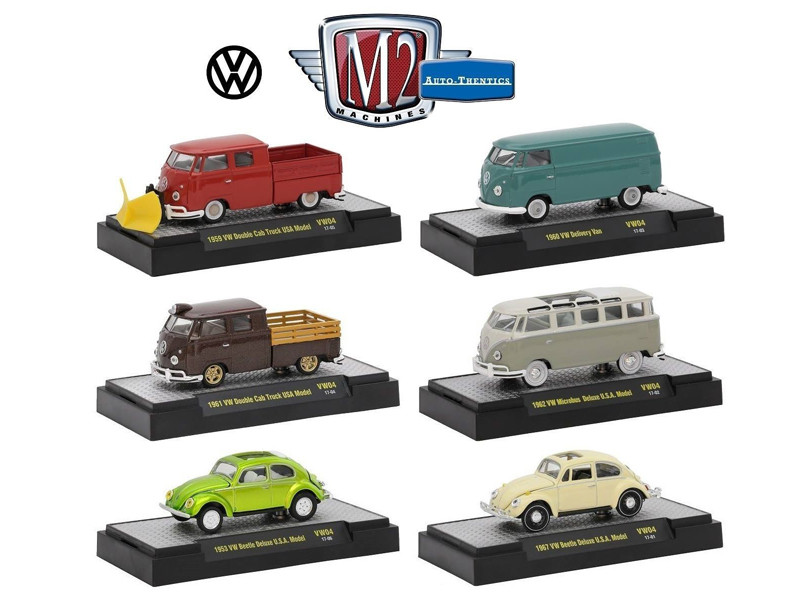 Auto Thentics Volkswagen 6 Cars Set Release 4 IN DISPLAY CASES 1/64 Diecast Model Cars M2 Machines 32500-VW04