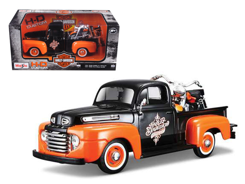1948 Ford F-1 Pickup Truck Orange/Black with 1958 FLH Duo Glide Harley Davidson Motorcycle 1/24 Maisto 32180