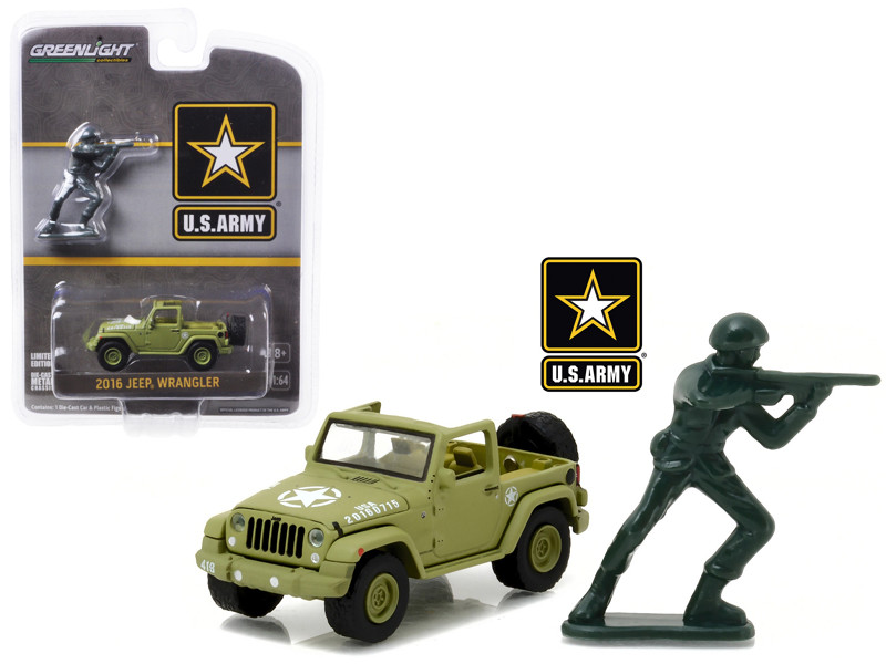 2016 Jeep Wrangler US Army with Soldier Figure 1/64 Diecast Model Car Greenlight 29884