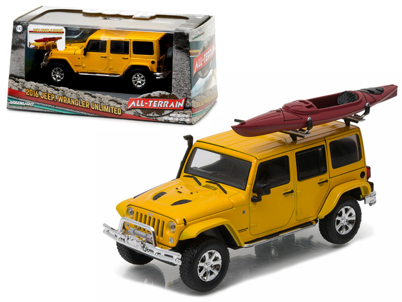 2016 Jeep Wrangler Unlimited Metallic Yellow with Winch Snorkel and Kayak With Display Showcase 1/43 Diecast Model Car Greenlight 86081