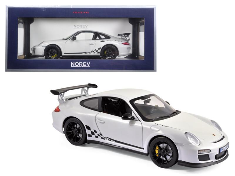 2010 Porsche 911 GT3 RS White and Black Trim 1/18 Diecast Model Car Norev 187561