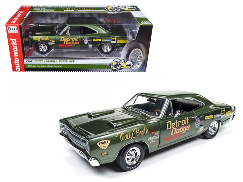 1969 Dodge Super Bee Wally Booth F8 Green Limited Edition to 1002pcs 1/18 Diecast Model Car Autoworld AW234