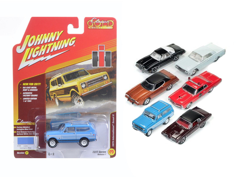 Classic Gold 2017 Set of 6 cars Release A 1/64 Diecast Model Cars Johnny Lightning JLCG003 A