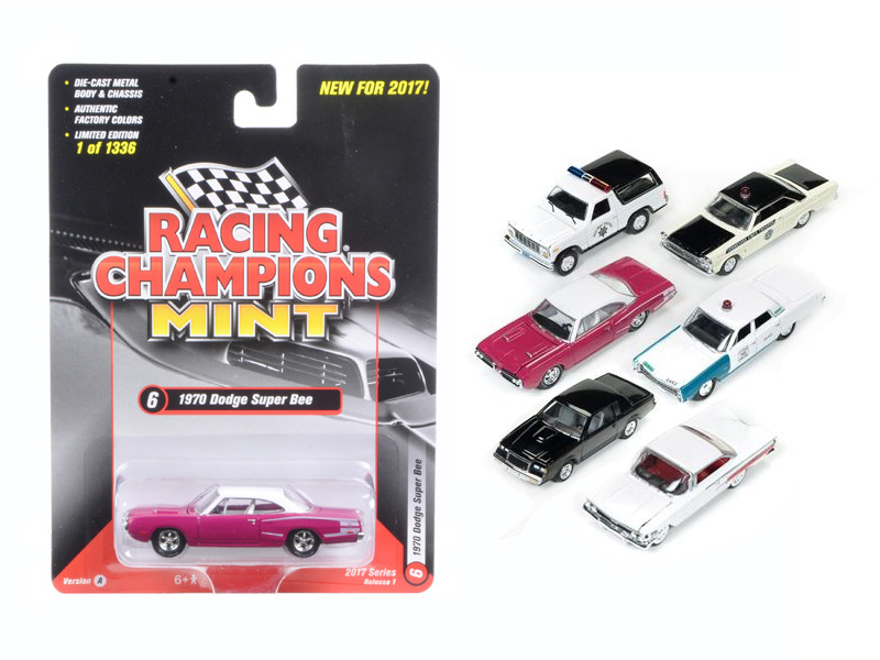 Mint Release 2017 Set A Set of 6 cars 1/64 Diecast Model Cars Racing Champions RC003 A