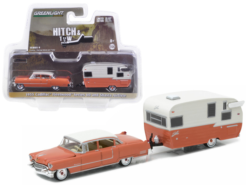 1955 Cadillac Fleetwood Series 60 Special and Shasta 15' Airflyte Hitch & Tow Series 9 1/64 Diecast Model Car Greenlight 32090 A