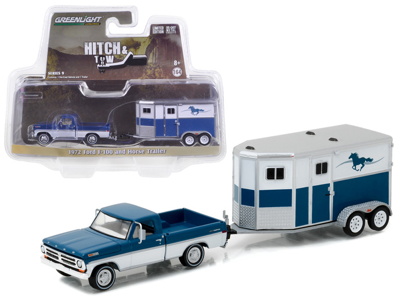 1972 Ford F-100 and Horse Trailer Hitch & Tow Series 9 1/64 Diecast Model Car Greenlight 32090 B