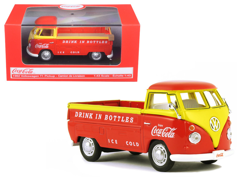 1962 Volkswagen Pickup Truck Coca Cola Orange and Yellow 1/43 Diecast Model Car Motorcity Classics 442338