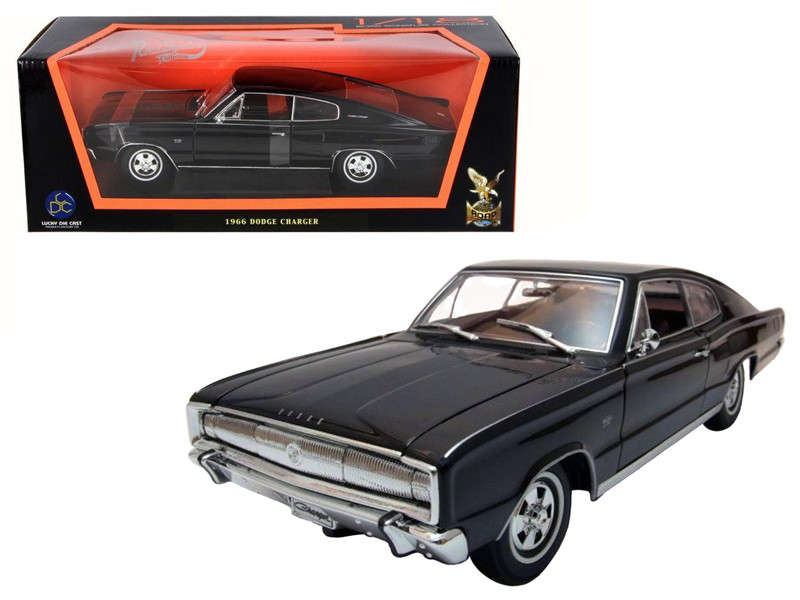 1966 Dodge Charger Black 1/18 Diecast Model Car by Road Signature