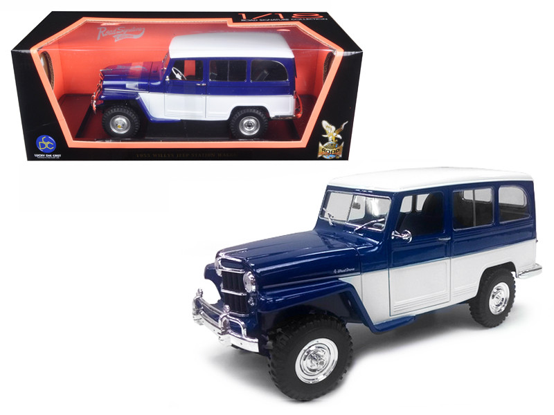 1955 Willys Jeep Station Wagon Blue 1/18 Diecast Model Car Road Signature 92858