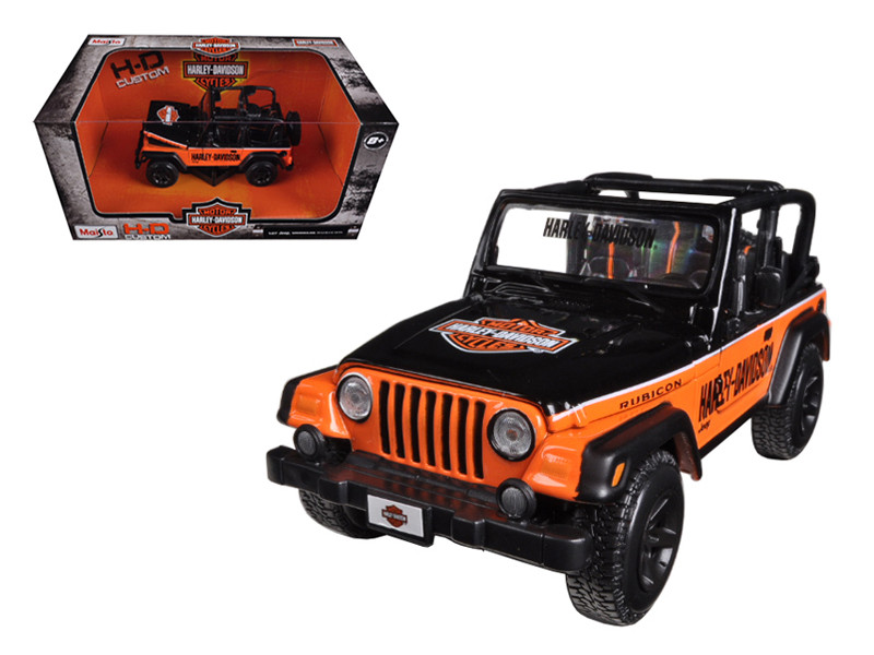 Jeep Wrangler Rubicon Harley Davidson Orange/Black 1/27 Diecast Model Maisto 32190