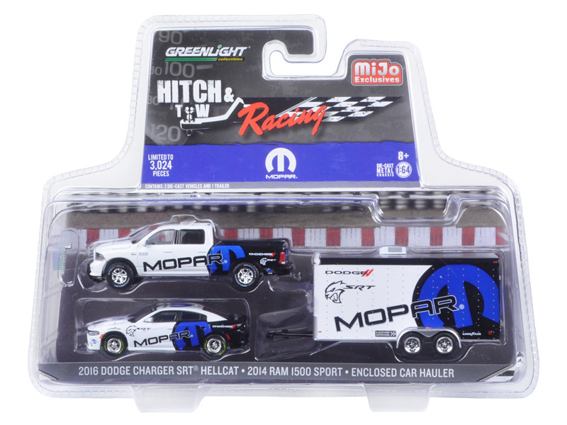 2014 Dodge Ram 1500 Pickup Truck and 2016 Charger SRT Hellcat with Car Hauler MOPAR Hitch & Tow Racing Edition 1/64 Diecast Model Car Greenlight 51061 D