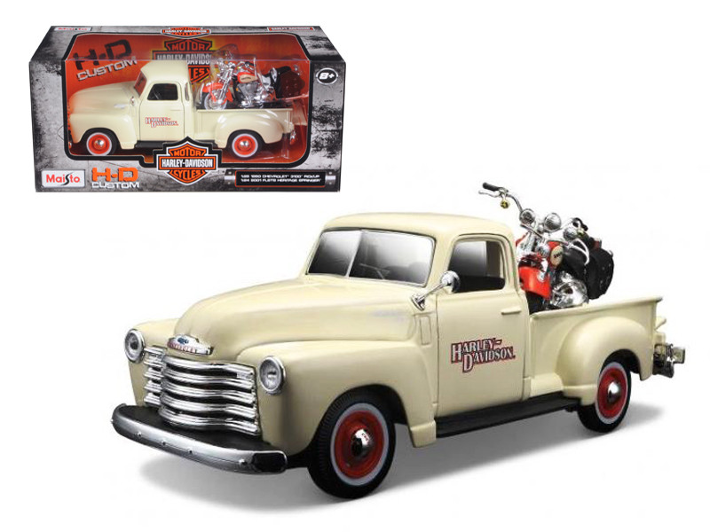 1950 Chevrolet 3100 Pickup Truck Harley Davidson 1/25 With 2001 FLSTS Heritage Springer Motorcycle 1/24 Diecast Model Maisto 32194