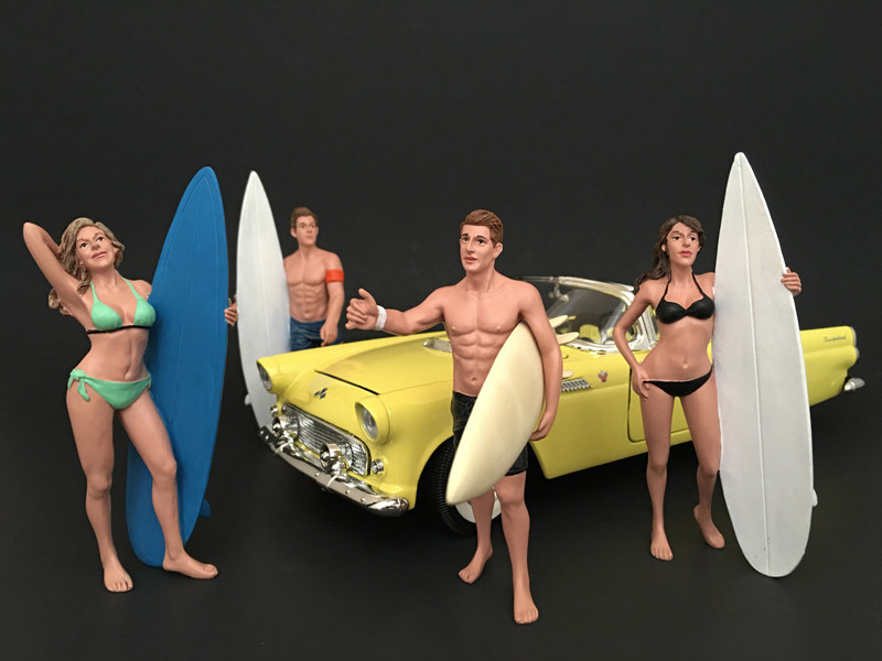 Surfers 4 Piece Figure Set For 1:18 Scale Models American Diorama 77439 77440 77441 77442