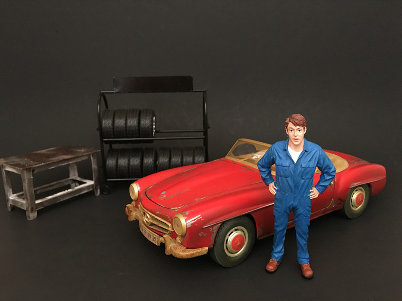 Mechanic John Inspecting Figure For 1:24 Scale Models American Diorama 77494