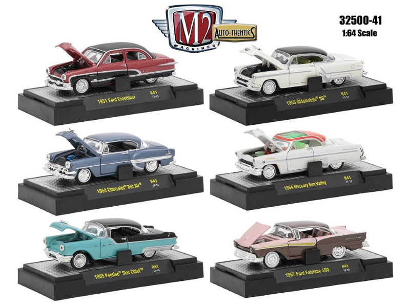Auto Thentics 10th Anniversary 6 Piece Set Release 41 IN DISPLAY CASES 1/64 Diecast Model Cars M2 Machines 32500-41