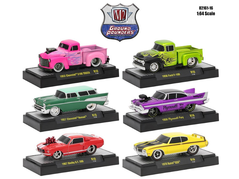 Ground Pounders 6 Cars Set Release 16 IN DISPLAY CASES 1/64 Diecast Model Cars M2 Machines 82161-16