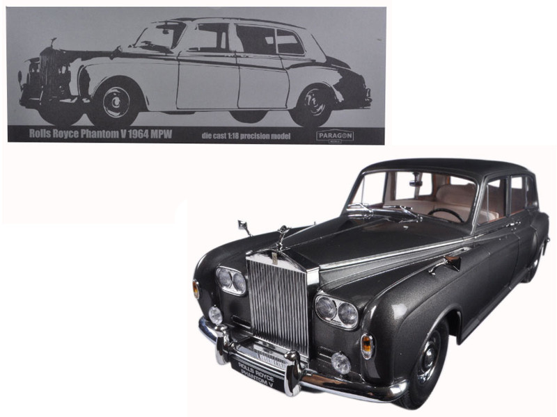 1964 Rolls Royce Phantom V MPW Gunmetal Grey LHD 1/18 Diecast Model Car by Paragon