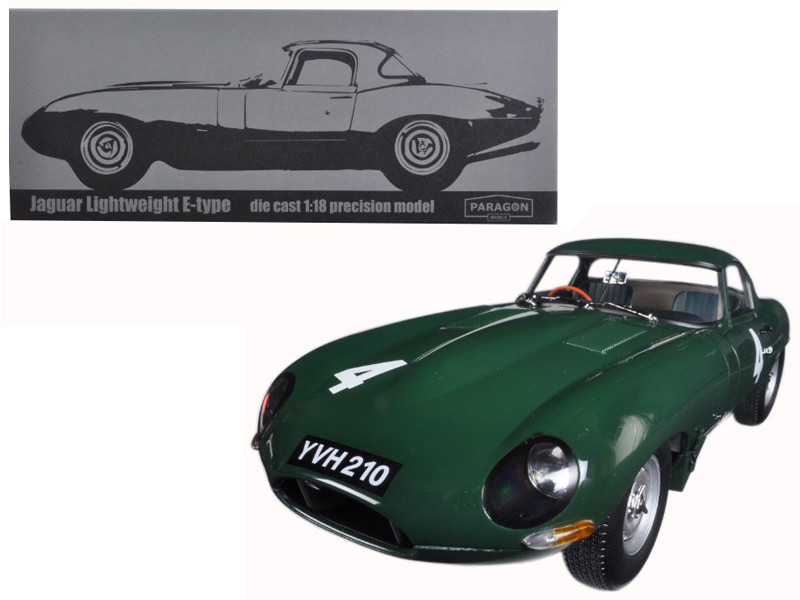 Jaguar Lightweight E-Type Sutcliffe YVH210 #4 Green 1/18 Diecast Model Car Paragon 98342