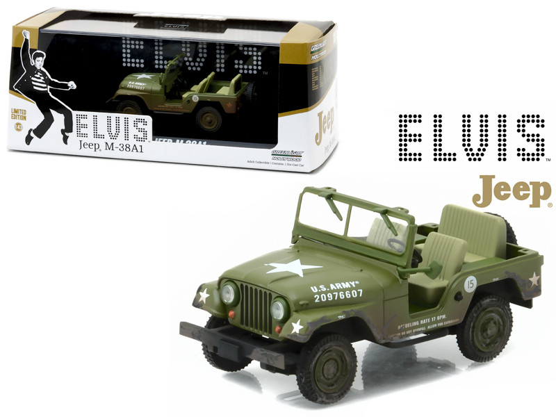 1963 US Army Jeep Willy's CJ-5 Elvis Presley 1935-1977 Cold War Era 1/43 Diecast Model Car Greenlight 86311