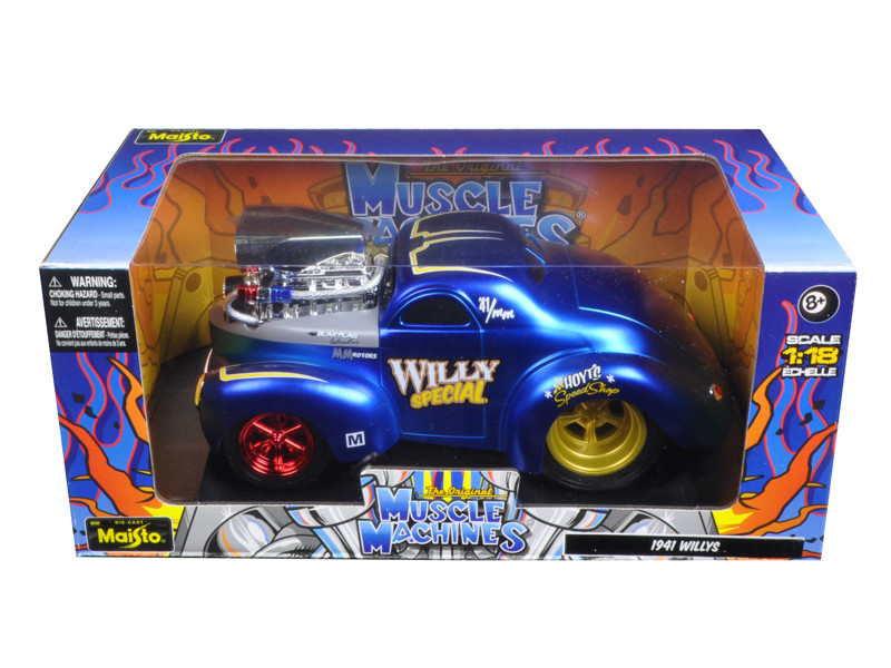 """1941 Willys Coupe Blue \Muscle Machines\"""" 1/18 Diecast Model Car by Maisto"""""""""""""""