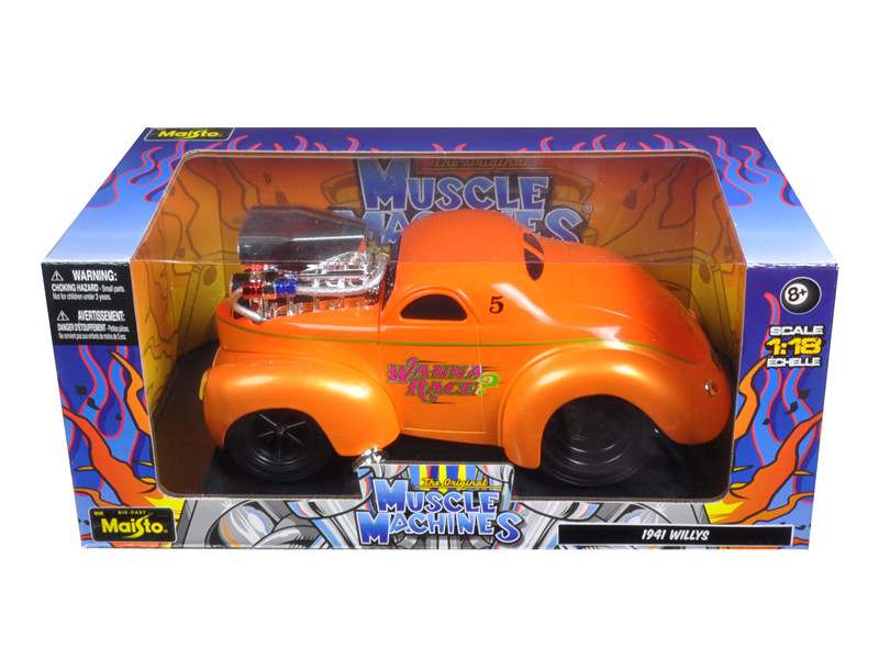 1941 Willys Coupe Metallic Orange Muscle Machines 1/18 Diecast Model Car Maisto 32202