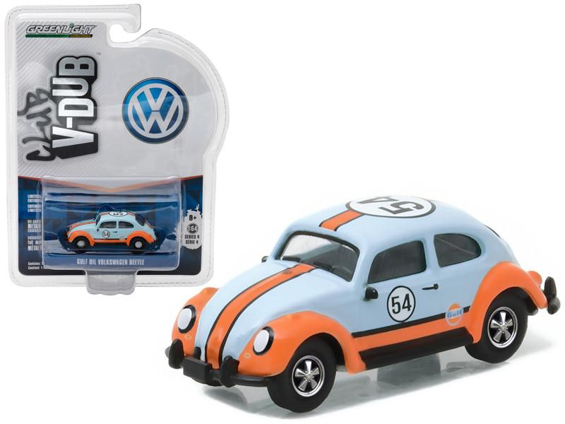 Volkswagen Classic Beetle #54 Gulf Oil Racer 1/64 Diecast Model Car Greenlight 29860 B