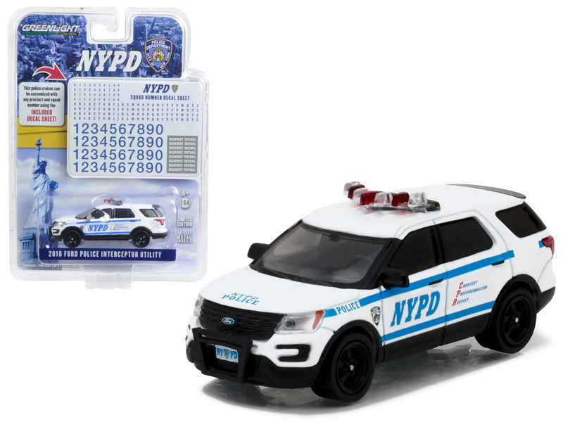 2016 Ford Interceptor Utility Police New York Police Department with NYPD Squad Number Decal Sheet Hobby Exclusive 1/64 Diecast Model Car Greenlight 42772