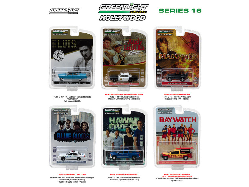 Hollywood Series Release 16 6pc Diecast Car Set 1/64 Diecast Model Cars Greenlight 44760