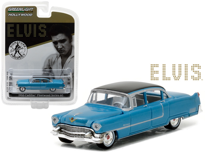 1955 Cadillac Fleetwood Series 60 Special Elvis Presley Blue Cadillac 1935-1977 1/64 Diecast Model Car Greenlight 44760 A
